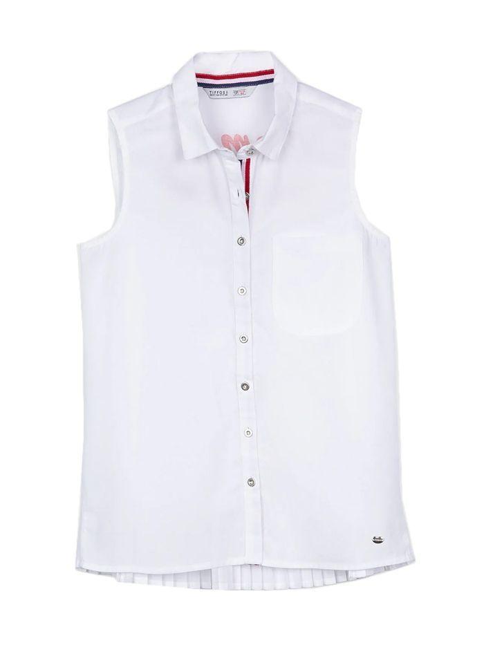 Tiffosi White Button-Up Sleeveless Top