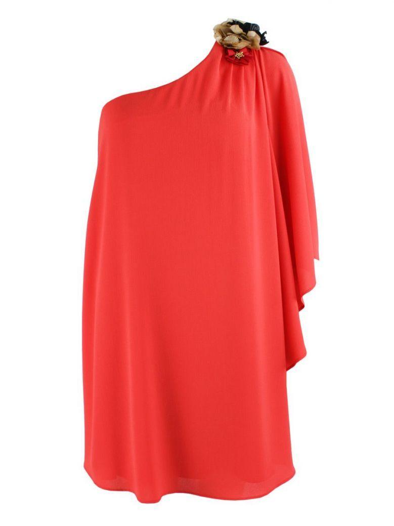 Alba Conde Coral Red One Shoulder Shift Dress
