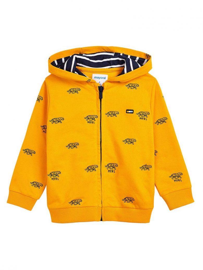 Mayoral Sunflower Embroidered Zip Up Sweatshirt