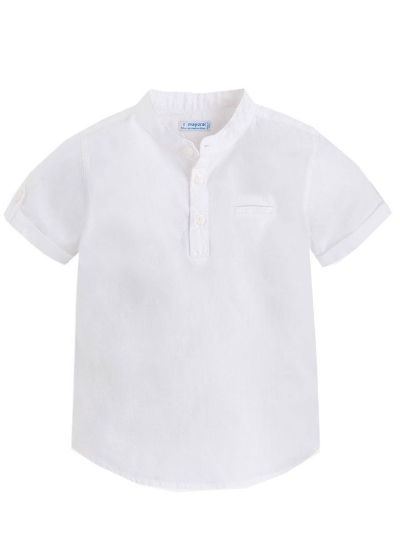Mayoral White Short Sleeve Granddad Collar Shirt