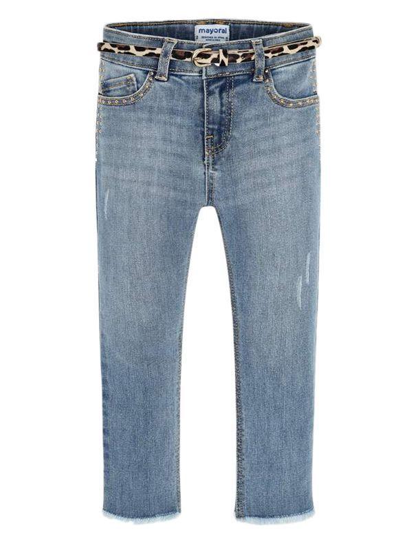 Mayoral Light Denim Skinny Jeans With Belt