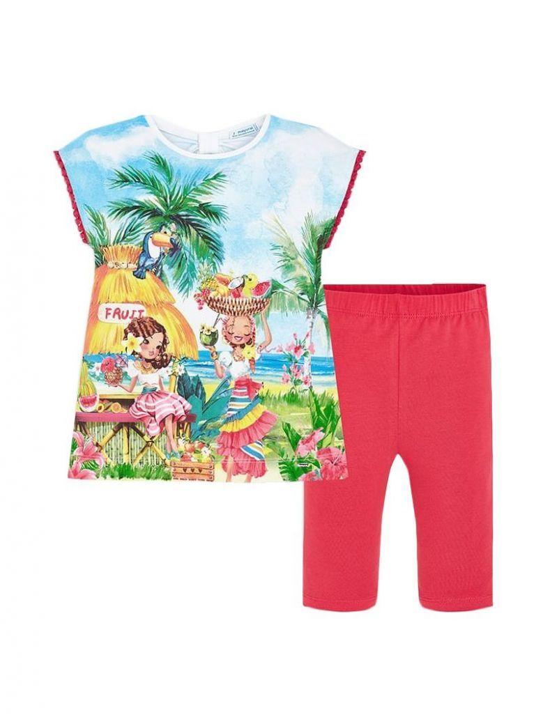 Mayoral Red Tropical T-Shirt & Short Leggings