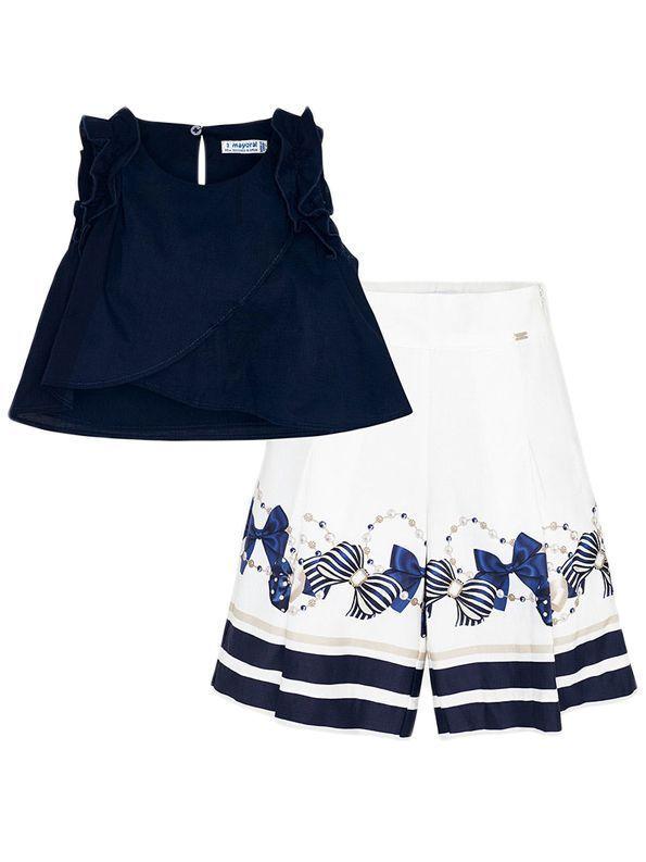 Mayoral Navy & Cream Sleeveless Top & Shorts Set