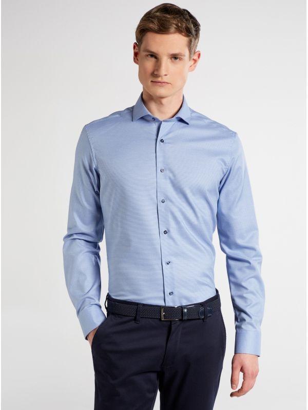 Eterna Blue Micro Print Slim Fit Shirt