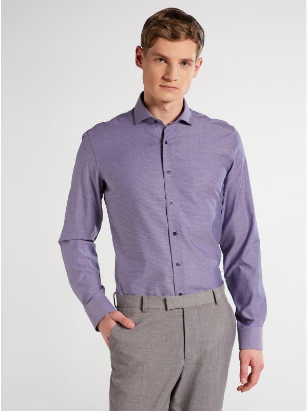 Eterna Deep Purple Textured Slim Fit Shirt