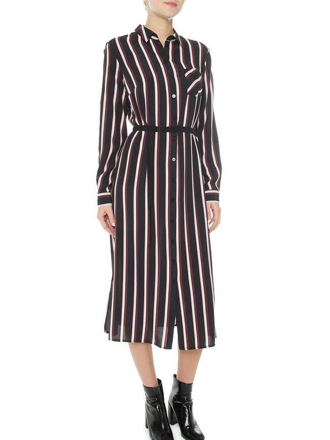 Bianca Black/Multi Dolores Striped Midaxi Shirt Dress