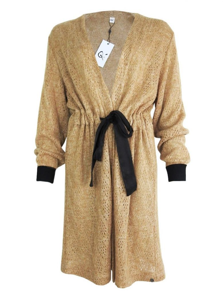 Que Beige Knitted Longline Cardigan