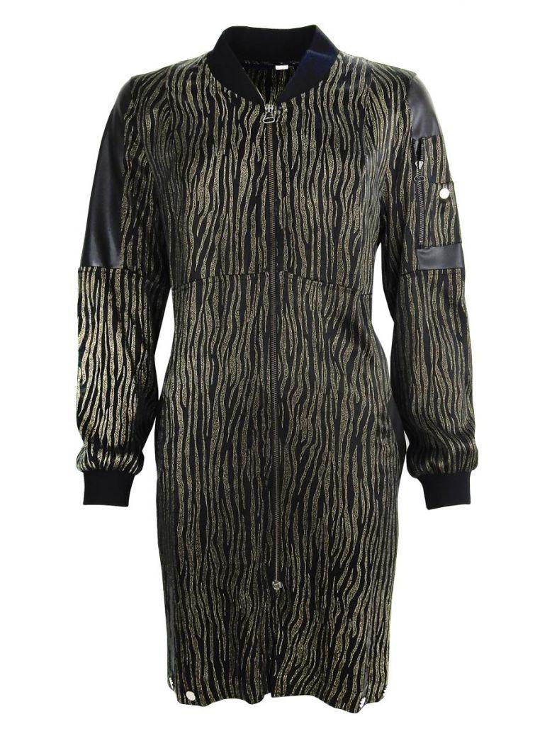 Que Black Printed Zip Up Jacket Dress
