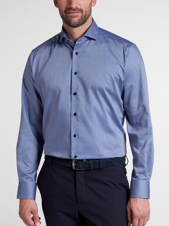Eterna Blue Long Sleeved Modern Fit Twill Shirt