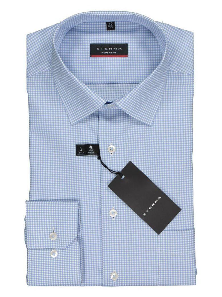 Eterna Blue Modern Fit Checked Shirt