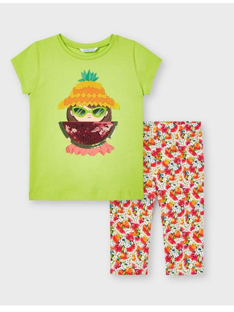 Mayoral Green/Multi T-shirt & Printed Leggings Set