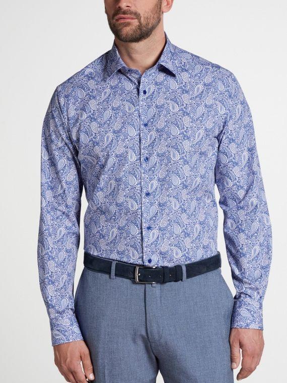 Eterna Blue Paisley Print Long Sleeved Modern Fit Poplin Shirt