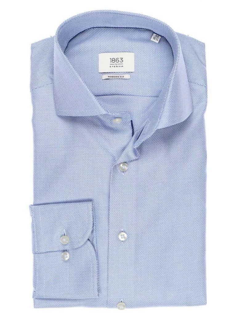Eterna Blue Textured Modern Fit Shirt