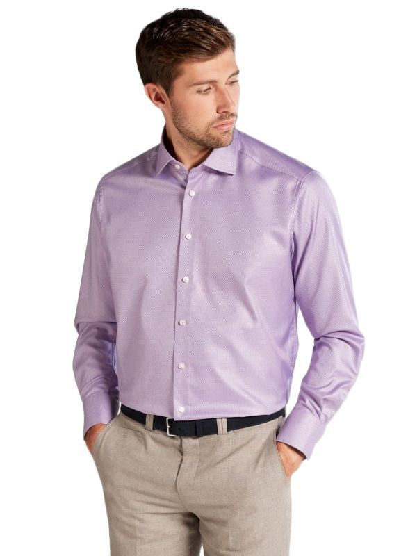 Eterna Purple Textured Modern Fit Shirt