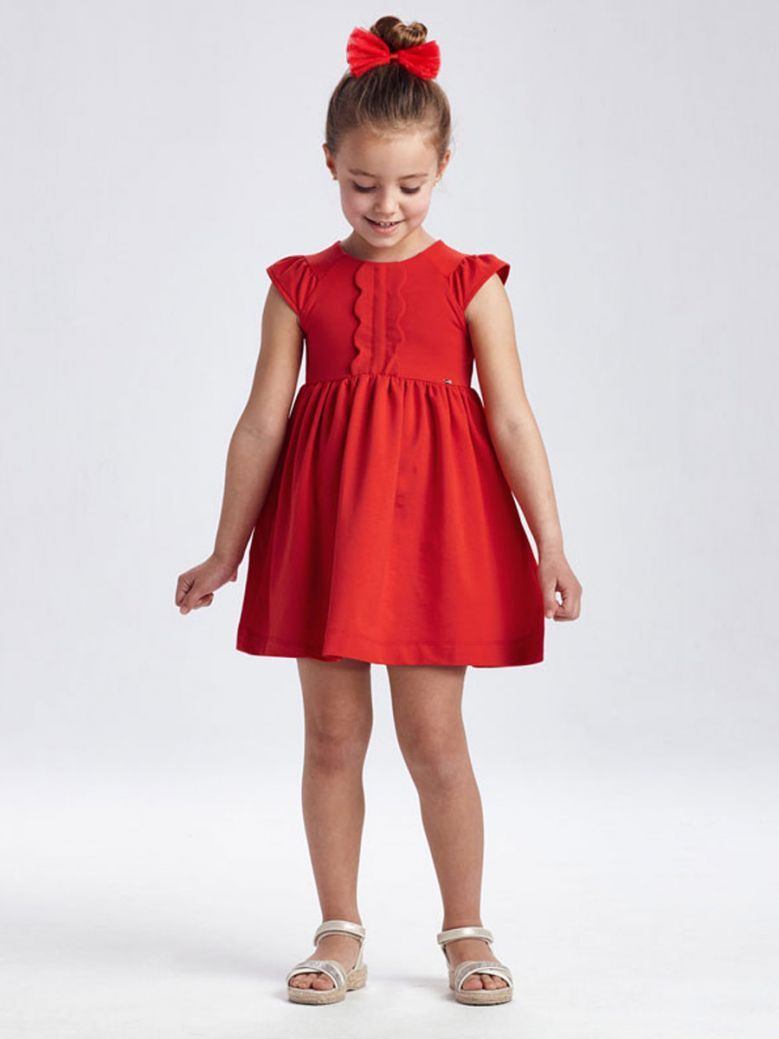 Mayoral Red Ruffle Front Dress