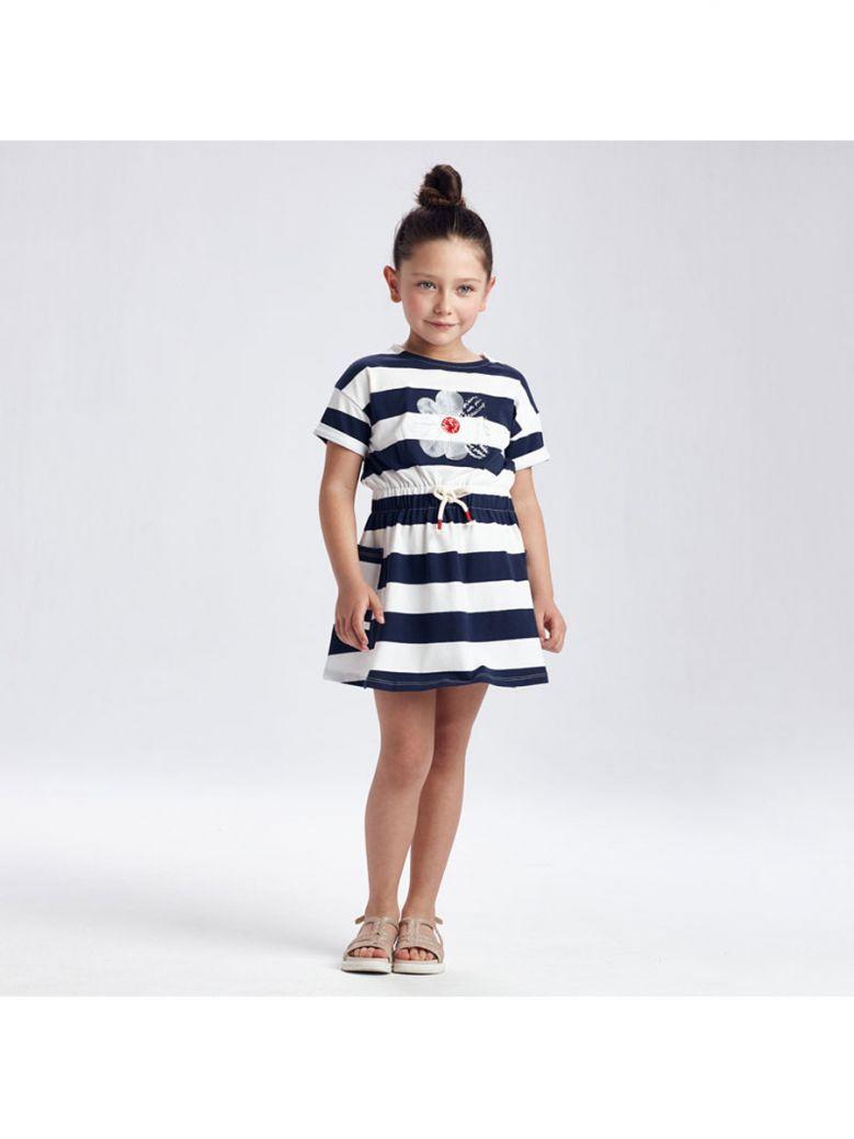 Mayoral Navy Striped Daisy Dress