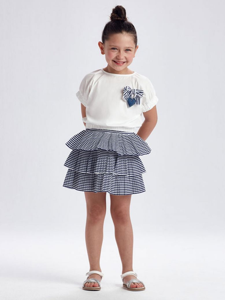 Mayoral Navy & White Top & Skirt Outfit