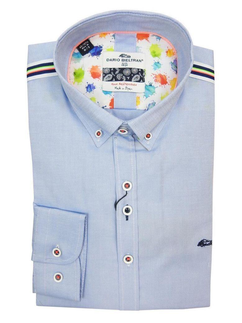 Dario Beltran Blue Contrast Stripe Shoulder Shirt