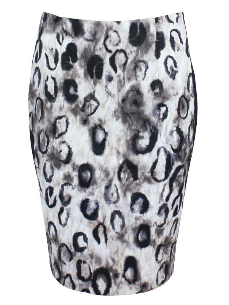 Monari Stone & Navy Printed Pencil Skirt