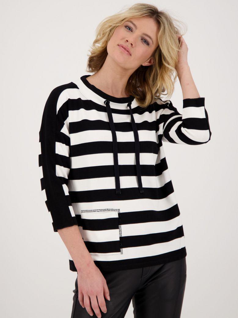 Monari Black and White Striped Sweatshirt