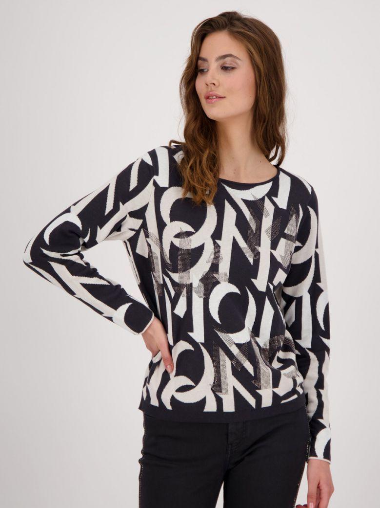 Monari Black Cotton Jacquard Sweater with Rhinestones