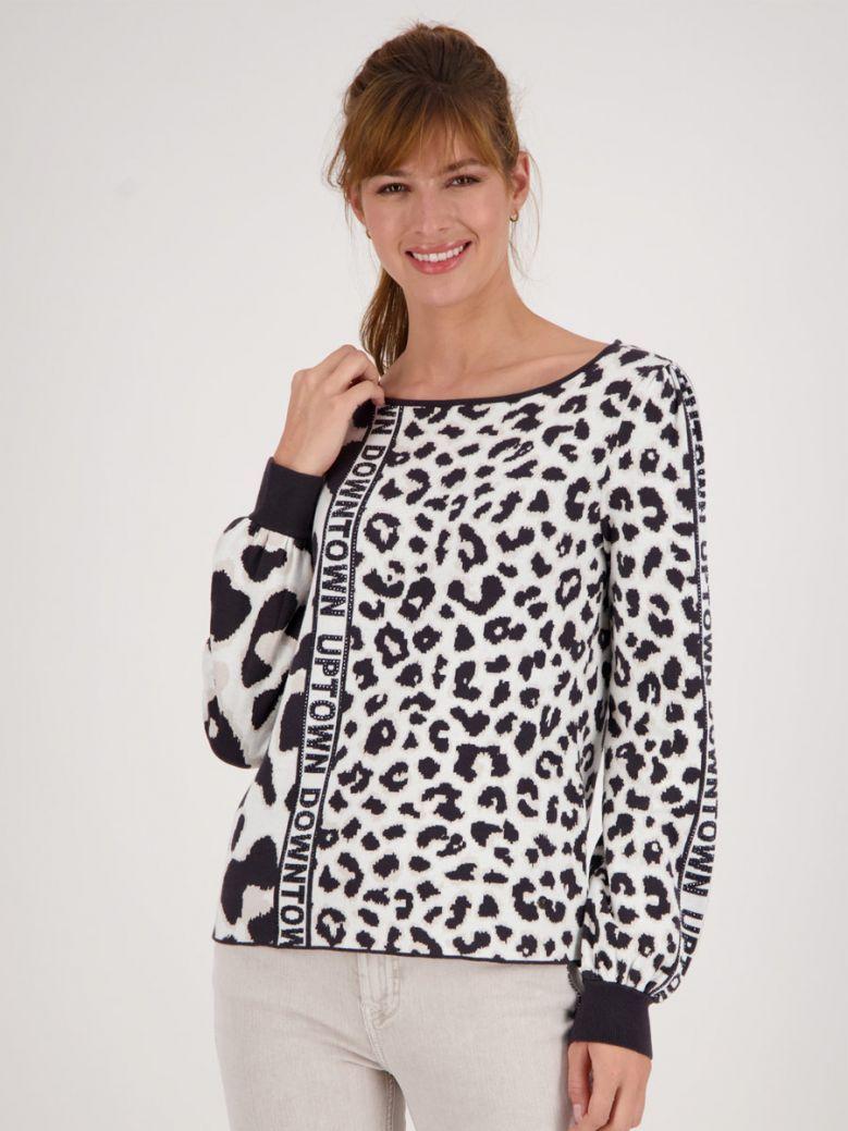 Monari Black Jacquard Sweater in Leo Design