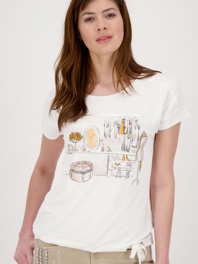 Monari Cream Jersey Printed T-Shirt