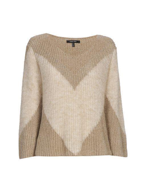 Marie Mero Gold & Beige Long Sleeve Knit Jumper