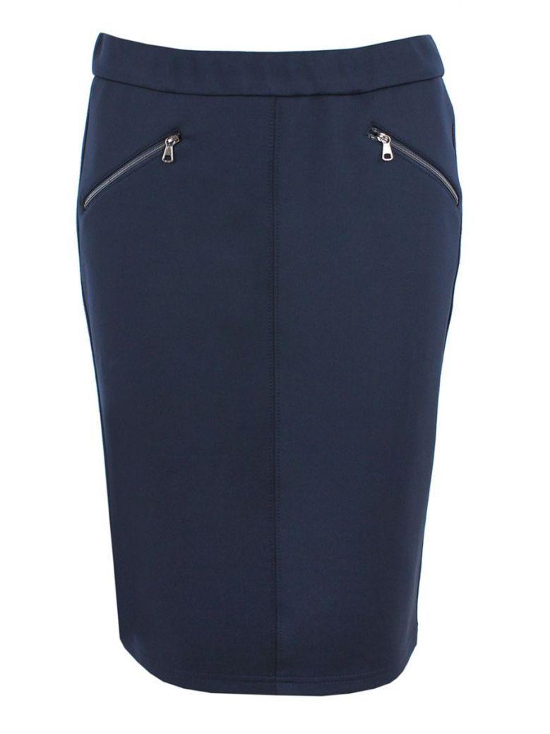 Rabe Navy Zip Detail Pencil Skirt