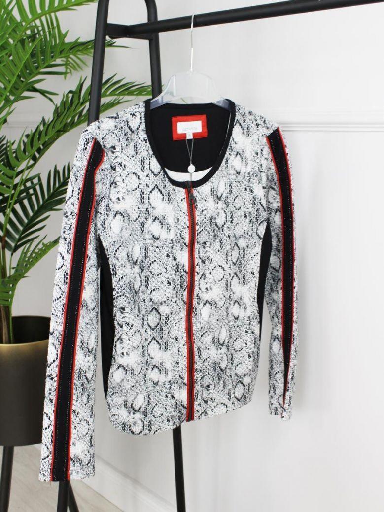 Just White Snake Print Zip Jacket