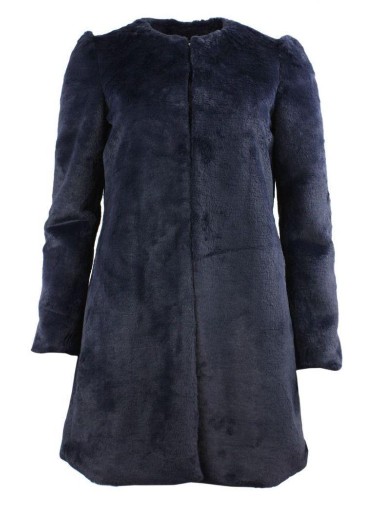Arggido Navy Faux Fur Coat