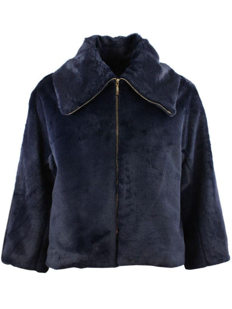 Arggido Navy Short Faux Fur Jacket