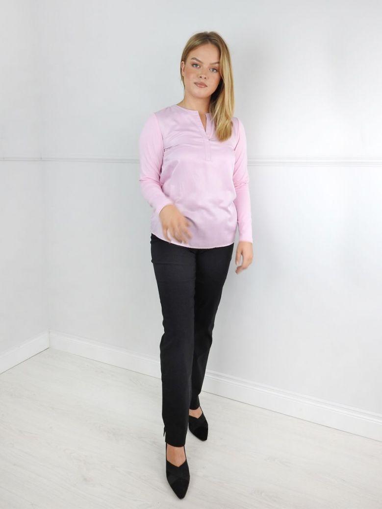 Just White Pink Collarless Blouse