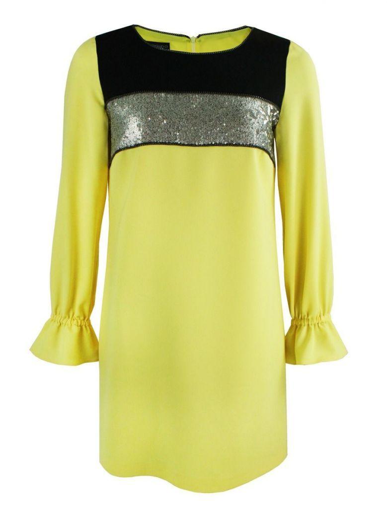 Arggido Yellow Sequin Panel Shift Dress
