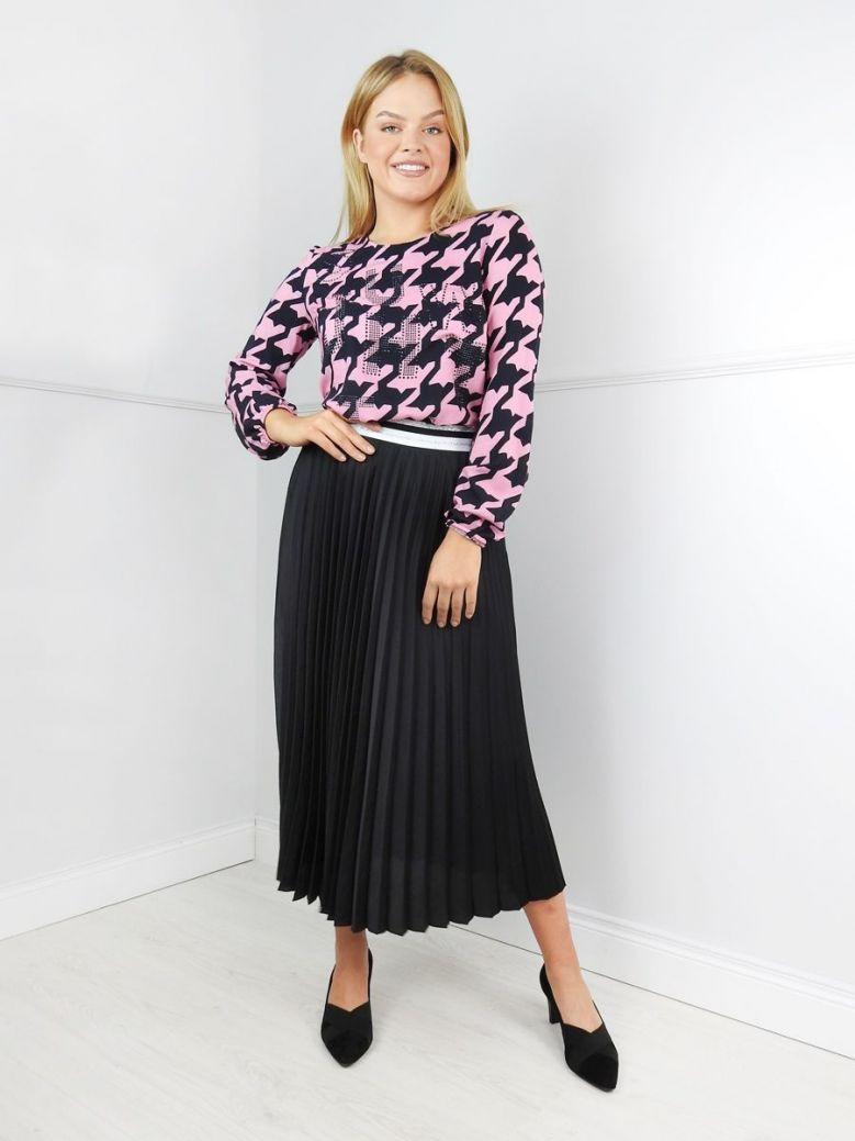 Just White Black Pleated Midi Skirt