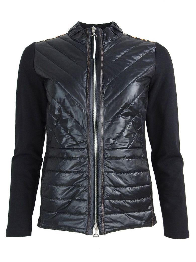 Just White Black Quilted Panel Zip Up Jacket