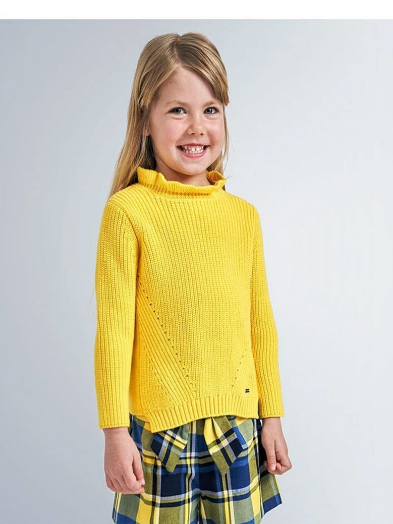Mayoral Yellow Knitted Ruffle Neck Jumper