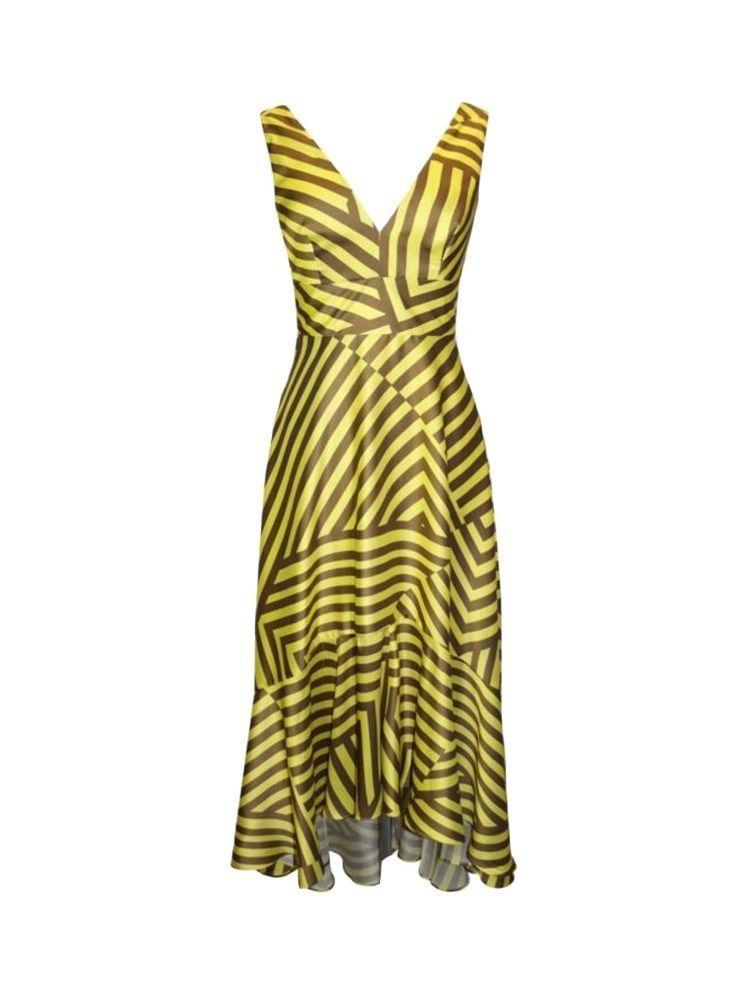 Arggido Yellow & Brown Striped Asymmetric Dress