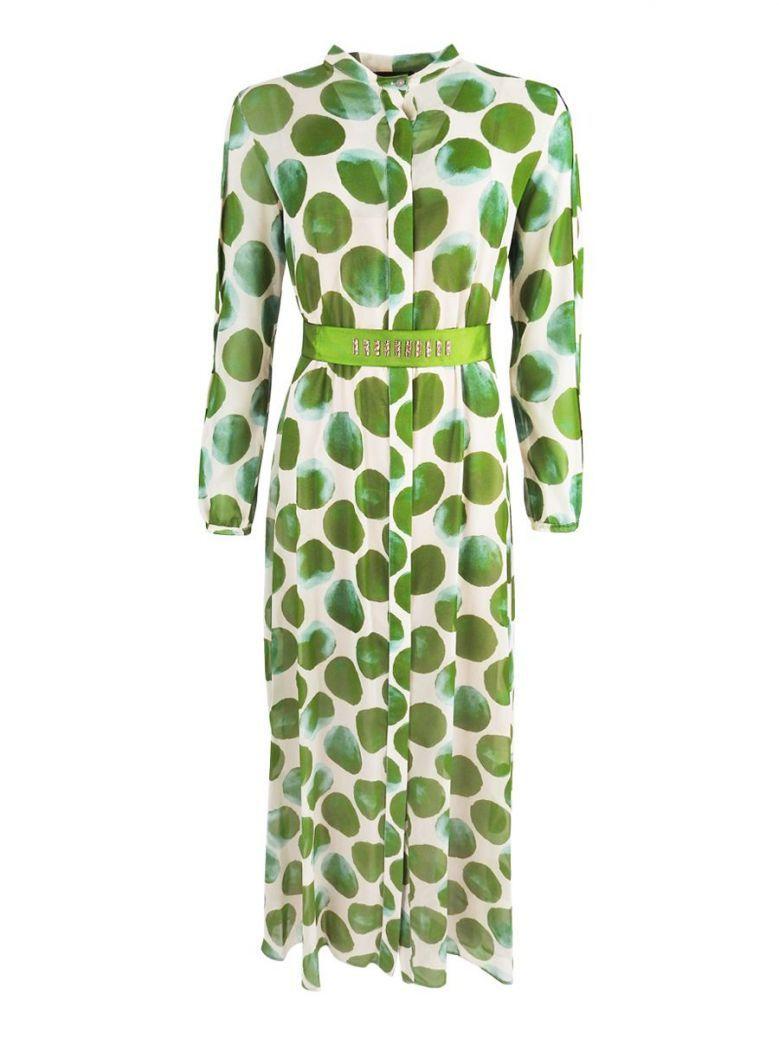Arggido Green Spot Print Chiffon Shirt Dress