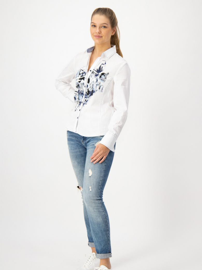 Just White Blouse with Blue Print