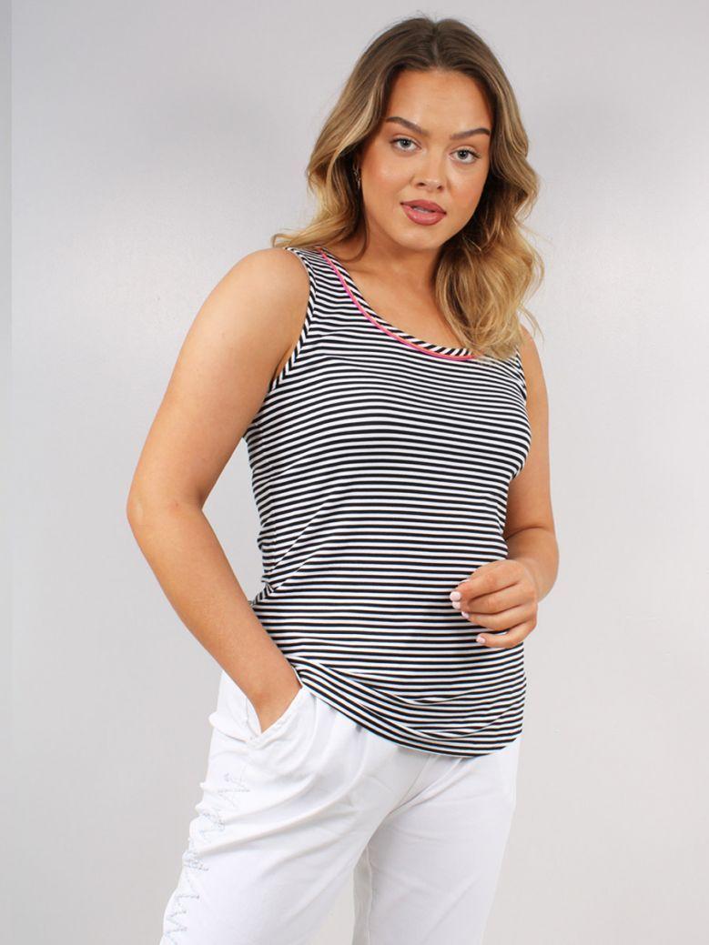 Just White Black Stripe Detail Vest