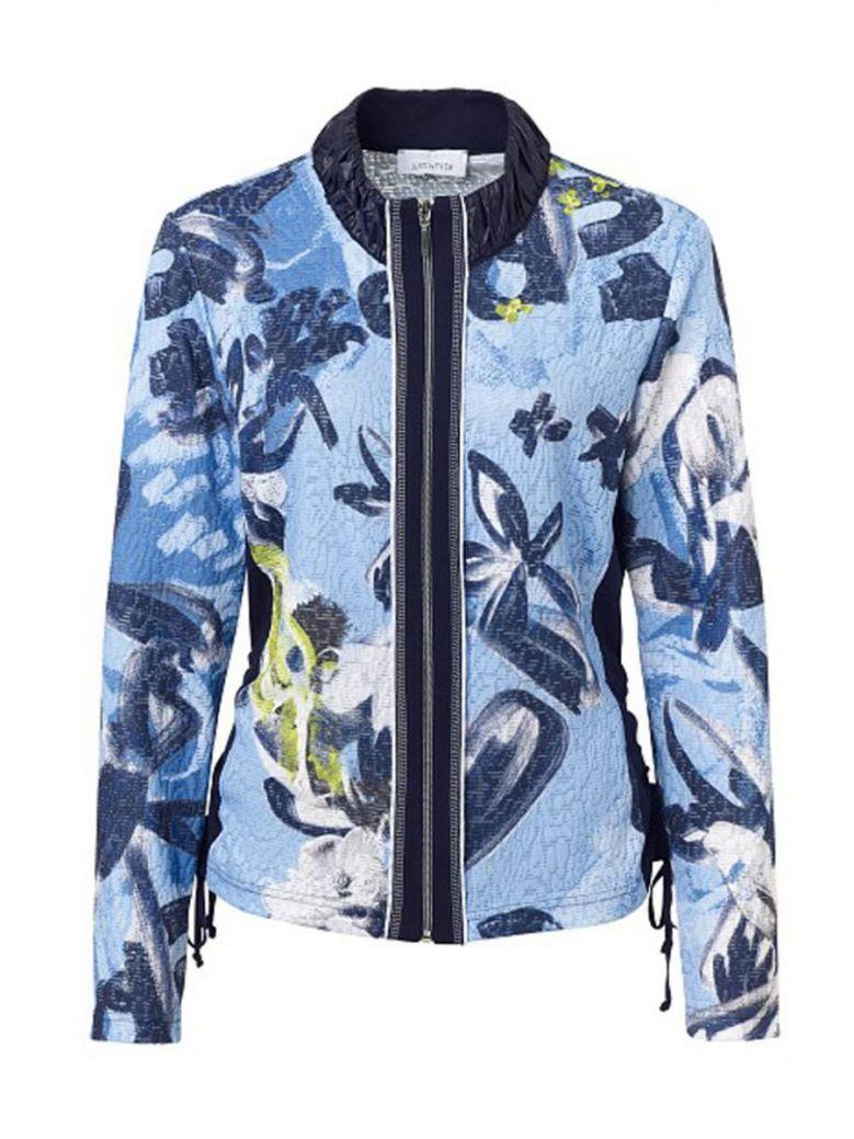 Just White Blue Floral Printed Zip Up Jacket