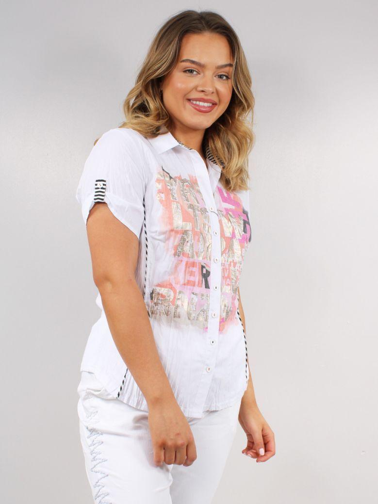 Just White Printed Short Sleeved Shirt