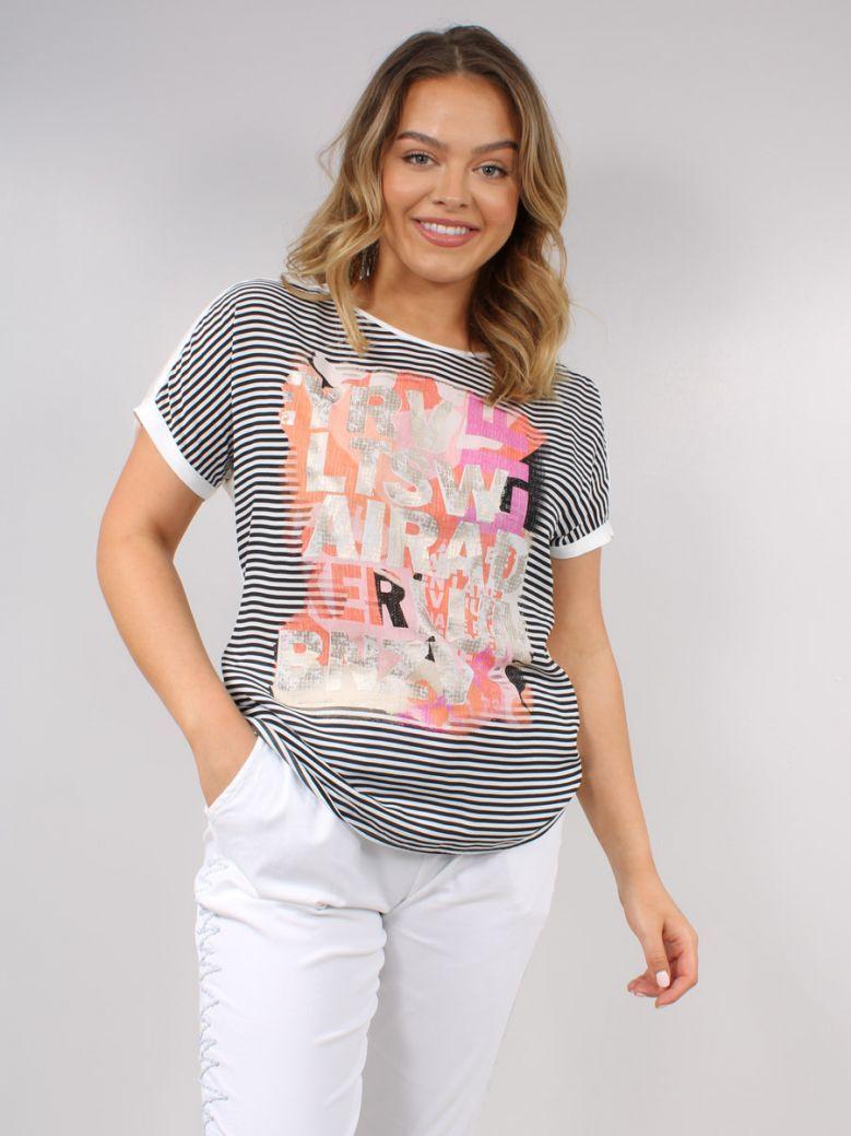 Just White Stripe Multi Printed T-Shirt