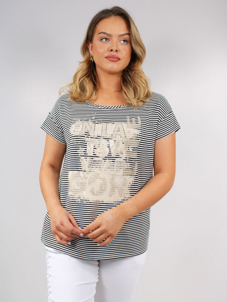 Just White Stripe Gold Printed T-Shirt