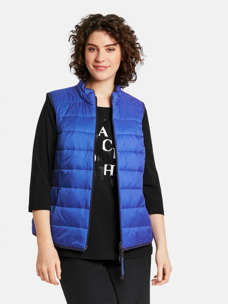 Samoon Blue & Navy Reversible Quilted Gilet
