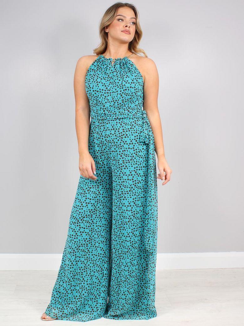 Arggido Turquoise Printed Jumpsuit