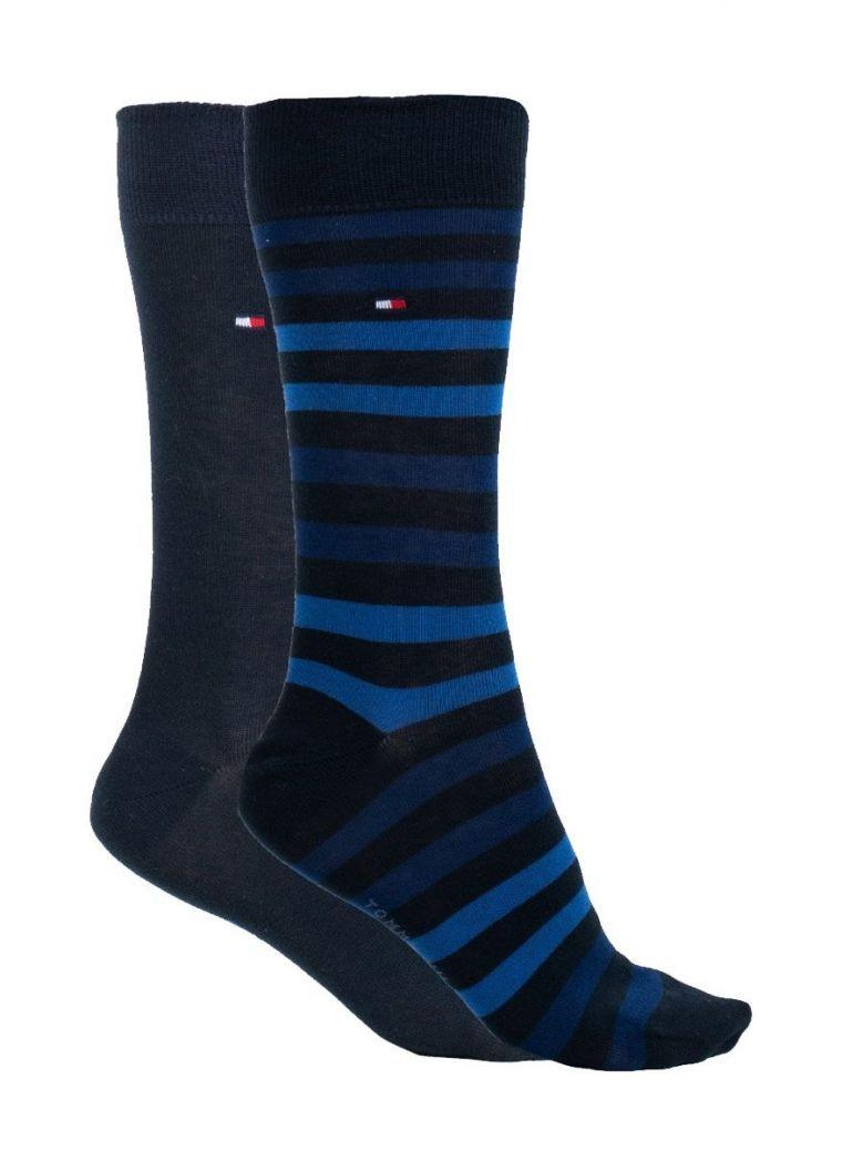 Tommy Hilfiger Navy/Blue Stripe 2 Pack Socks