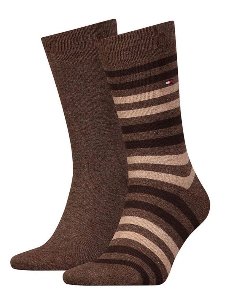 Tommy Hilfiger Brown Stripe 2 Pack Socks