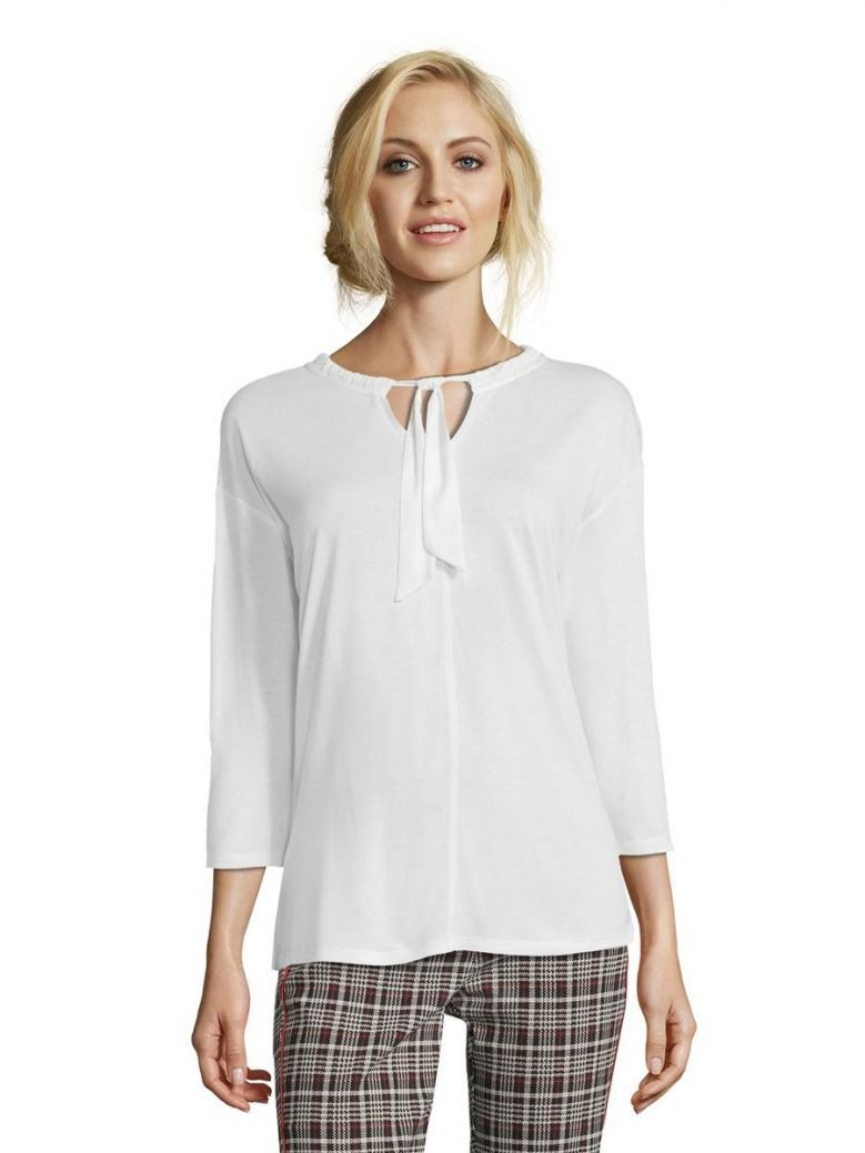 Betty Barclay Raw White Woven Neck Tie Blouse